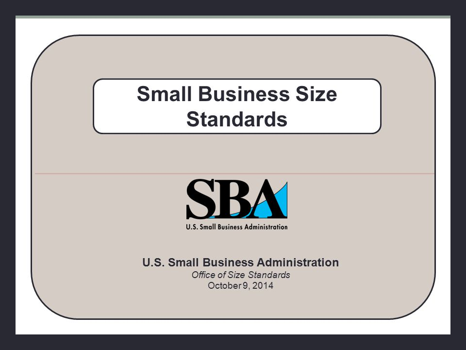 Introduction Size standards play an important role in federal government programs Size standards define the maximum size a business can be, together with its affiliates, to qualify for federal small business programs