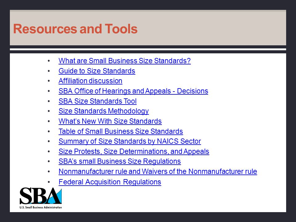 Resources and Tools What are Small Business Size Standards.