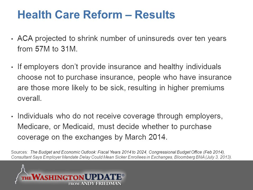 ACA projected to shrink number of uninsureds over ten years from 57M to 31M. If employers don't provide insurance and healthy individuals choose not t
