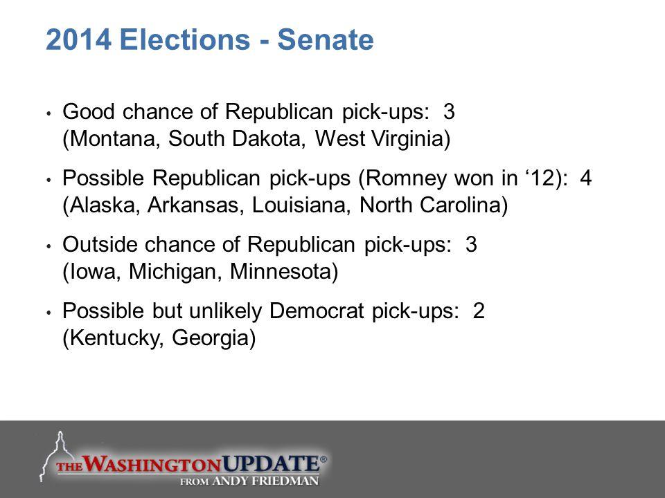 Good chance of Republican pick-ups: 3 (Montana, South Dakota, West Virginia) Possible Republican pick-ups (Romney won in '12): 4 (Alaska, Arkansas, Louisiana, North Carolina) Outside chance of Republican pick-ups: 3 (Iowa, Michigan, Minnesota) Possible but unlikely Democrat pick-ups: 2 (Kentucky, Georgia) 2014 Elections - Senate