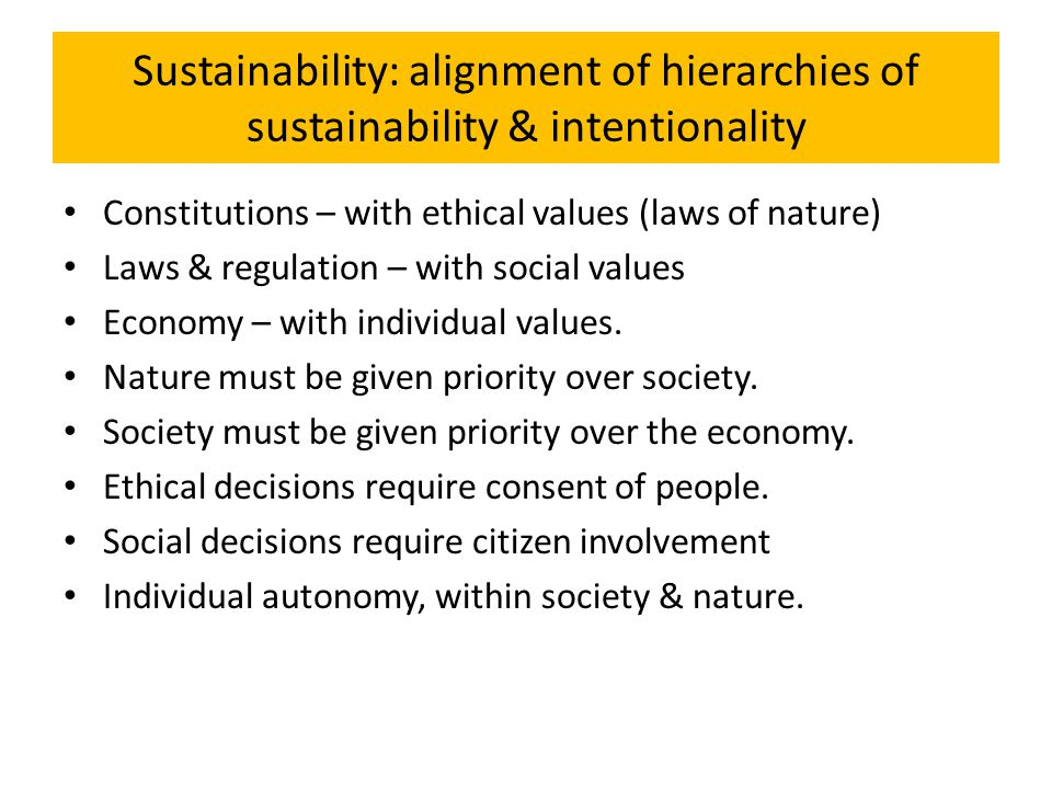 Sustainability: alignment of hierarchies of sustainability & intentionality Constitutions – with ethical values (laws of nature) Laws & regulation – w