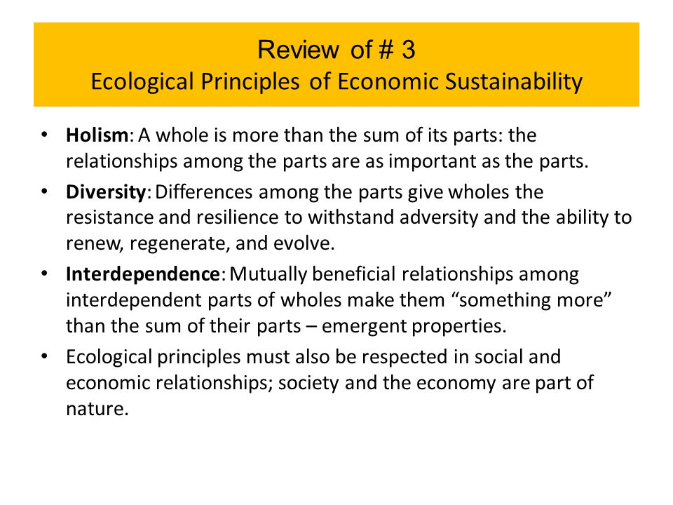 Review of # 3 Ecological Principles of Economic Sustainability Holism: A whole is more than the sum of its parts: the relationships among the parts ar