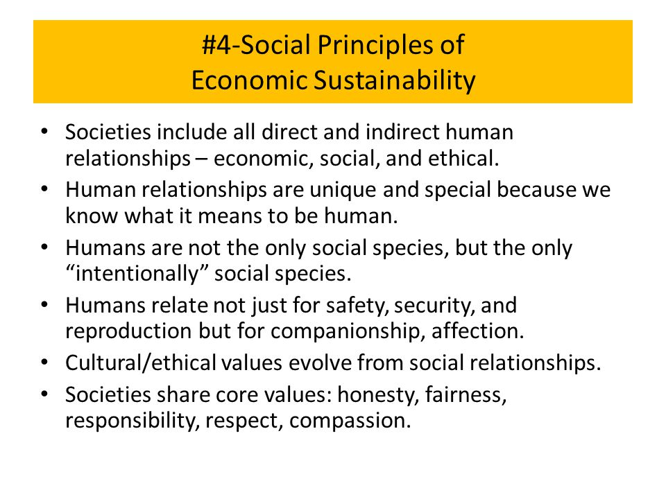 #4-Social Principles of Economic Sustainability Societies include all direct and indirect human relationships – economic, social, and ethical. Human r