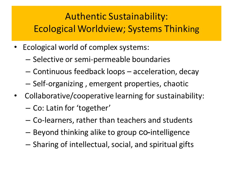 Authentic Sustainability: Ecological Worldview; Systems Think ing Ecological world of complex systems: – Selective or semi-permeable boundaries – Cont