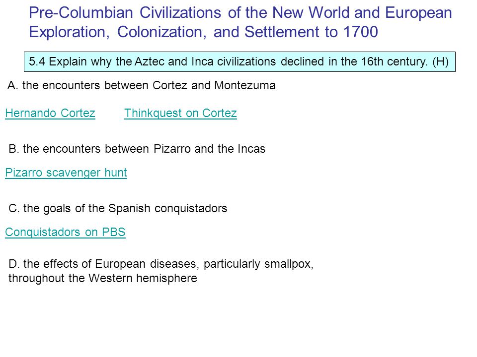 5.4 Explain why the Aztec and Inca civilizations declined in the 16th century.