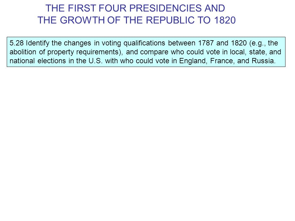 5.28 Identify the changes in voting qualifications between 1787 and 1820 (e.g., the abolition of property requirements), and compare who could vote in local, state, and national elections in the U.S.