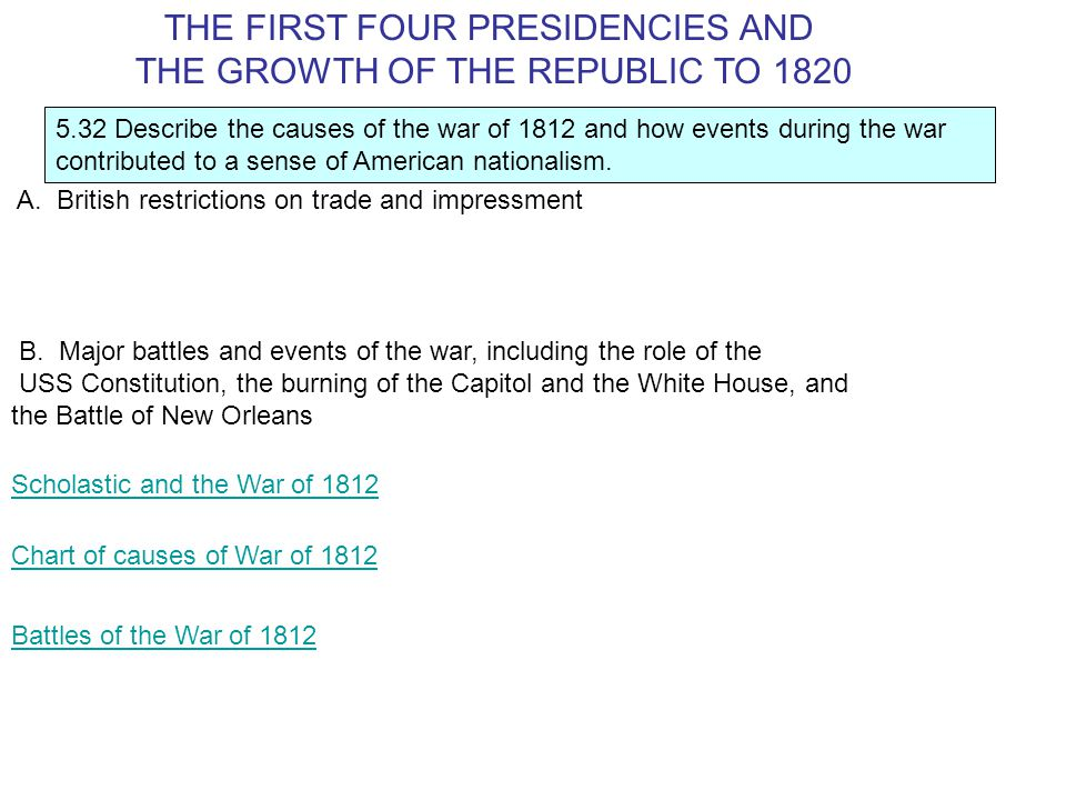 5.32 Describe the causes of the war of 1812 and how events during the war contributed to a sense of American nationalism.