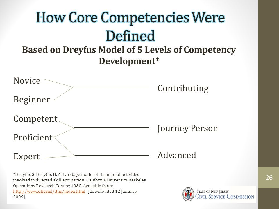 Based on Dreyfus Model of 5 Levels of Competency Development* Novice Beginner Competent Proficient Expert *Dreyfus S, Dreyfus H.