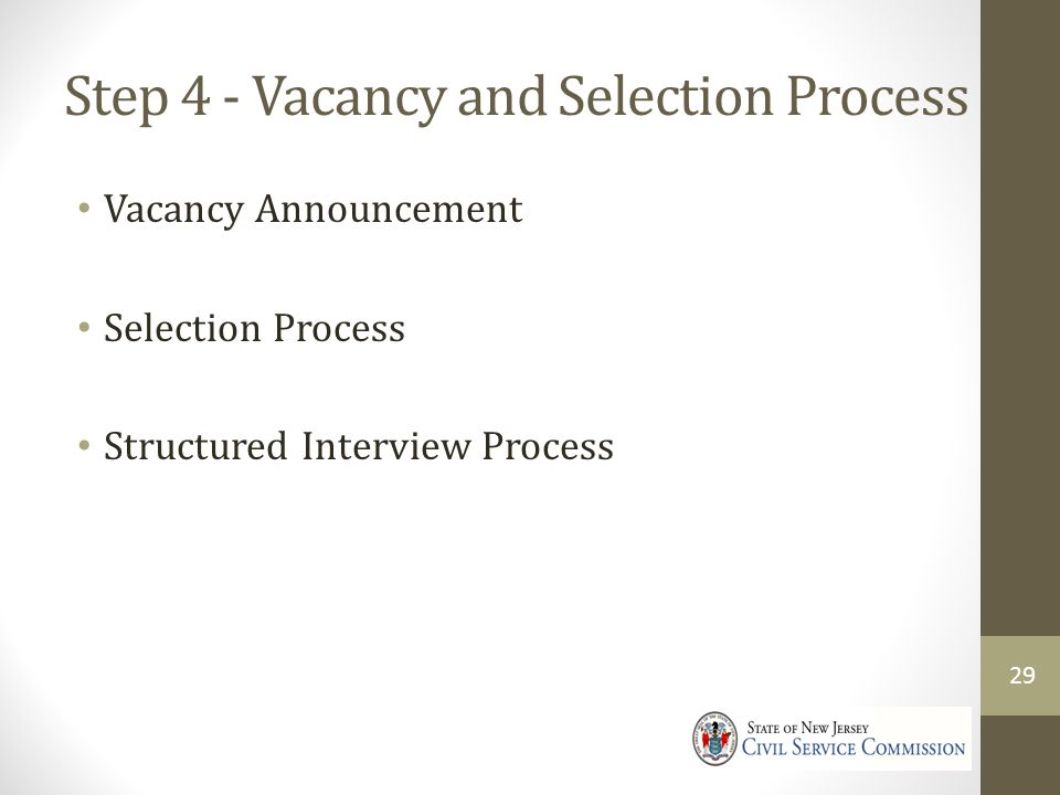 Step 4 - Vacancy and Selection Process Vacancy Announcement Selection Process Structured Interview Process 29