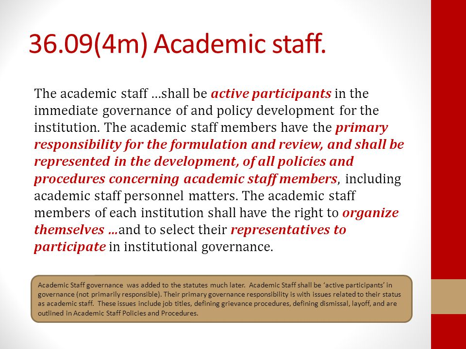 36.09(4m) Academic staff.