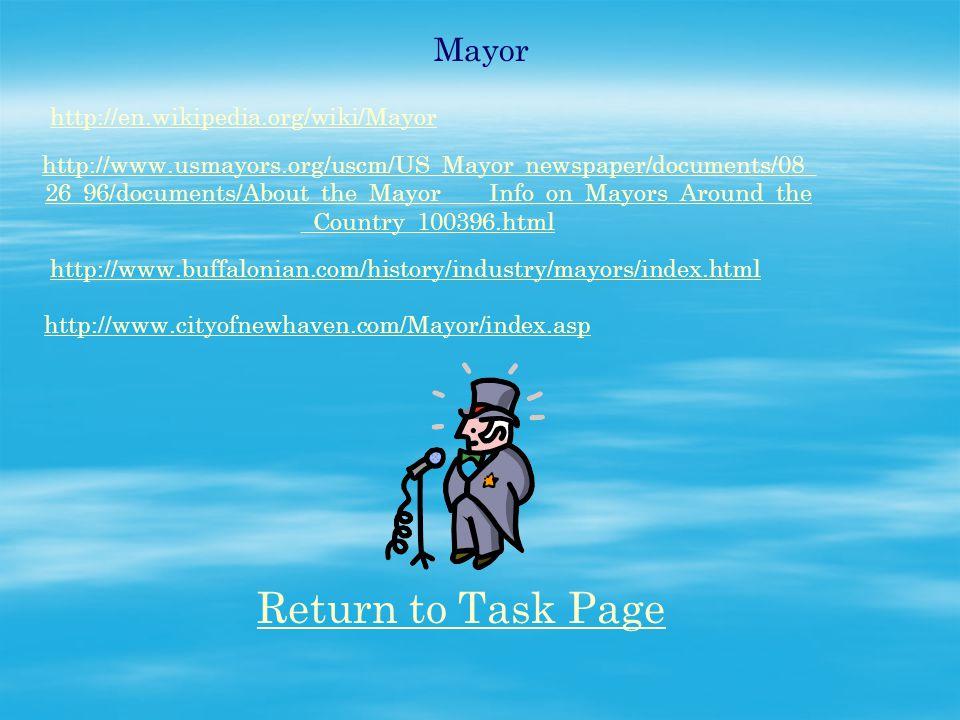 Mayor http://en.wikipedia.org/wiki/Mayor http://www.usmayors.org/uscm/US_Mayor_newspaper/documents/08_ 26_96/documents/About_the_Mayor____Info_on_Mayo