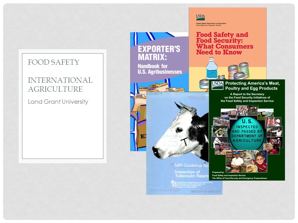 Land Grant University FOOD SAFETY INTERNATIONAL AGRICULTURE