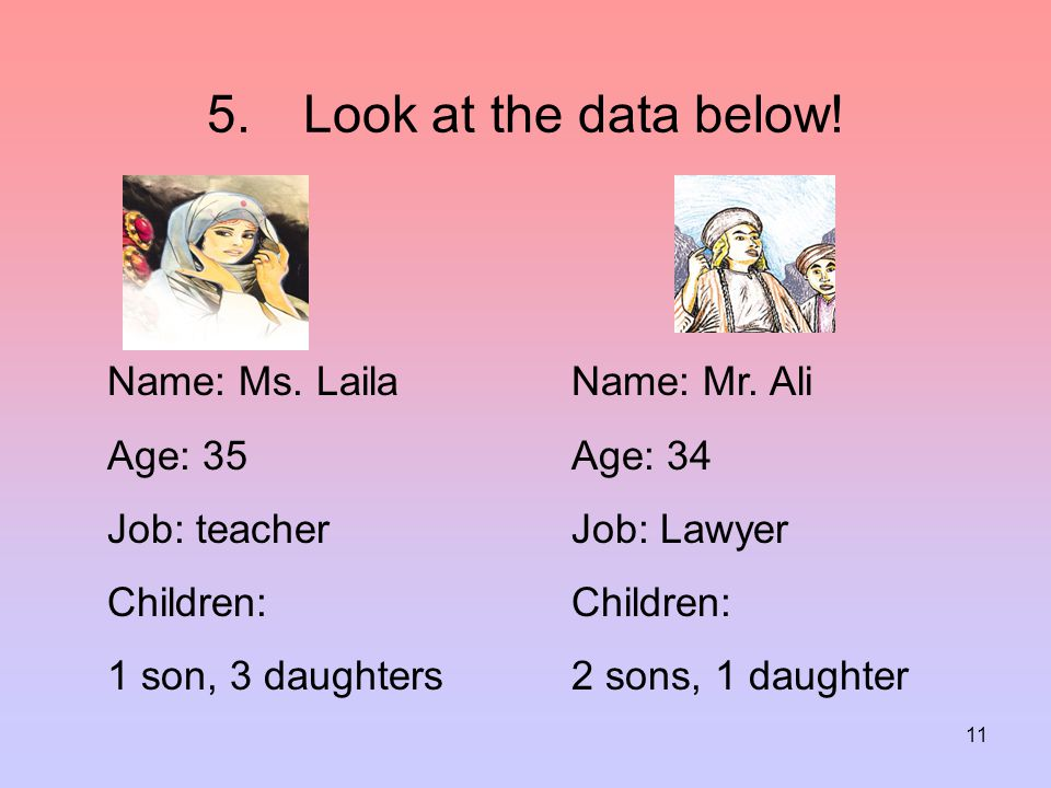 12 Mr Ali has … than Ms. Laila. a.Fewer sons b.More daughters c.More children d.Fewer daughters