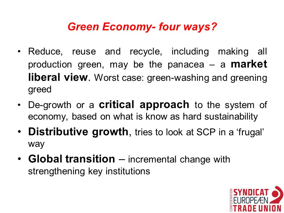 Green Economy- four ways.