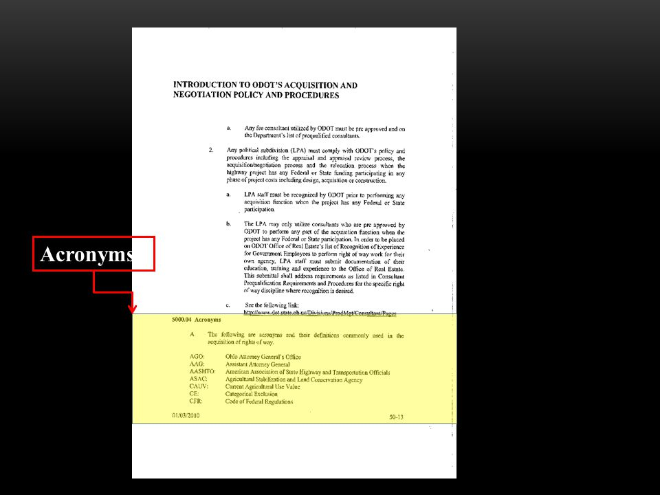 5000 SECTION MANUAL - CHANGES ● No major changes Acronyms section was removed This section was reduced from 14 pages to 5 pages