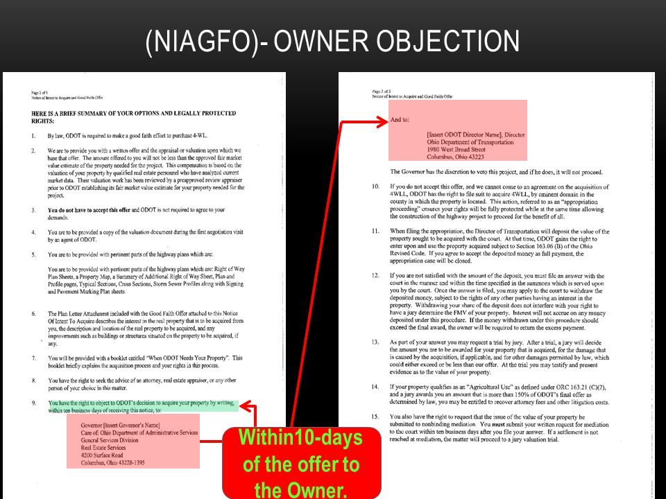 NOTICE OF INTENT TO ACQUIRE AND GOOD FAITH OFFER LETTER (NIAGFO)