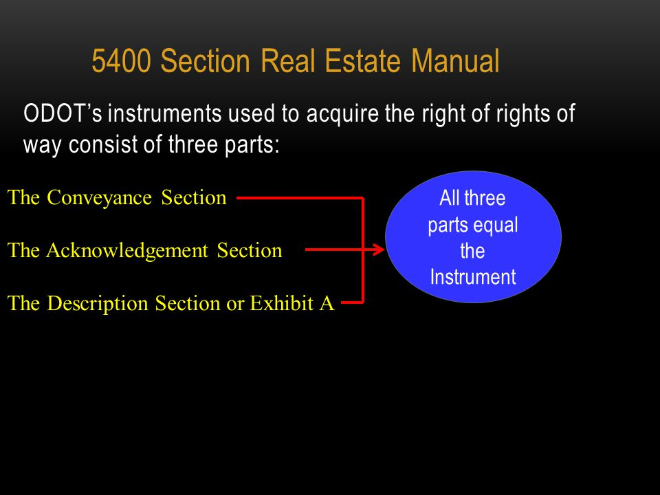 PREPARATION AND EXECUTION OF INSTRUMENTS 5400 Section Real Estate Manual 1.Section is controlled in large part by Ohio law.
