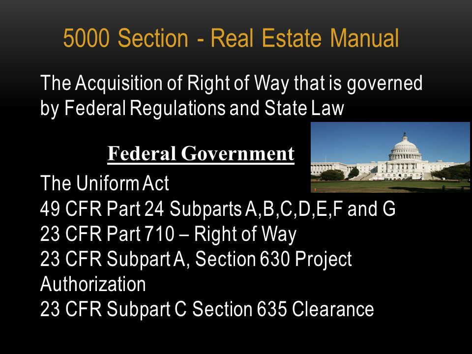5000 SECTION OF THE REAL ESTATE MANUAL INTRODUCTION TO ODOT'S ACQUISITION AND NEGOTIATION POLICY AND PROCEDURES