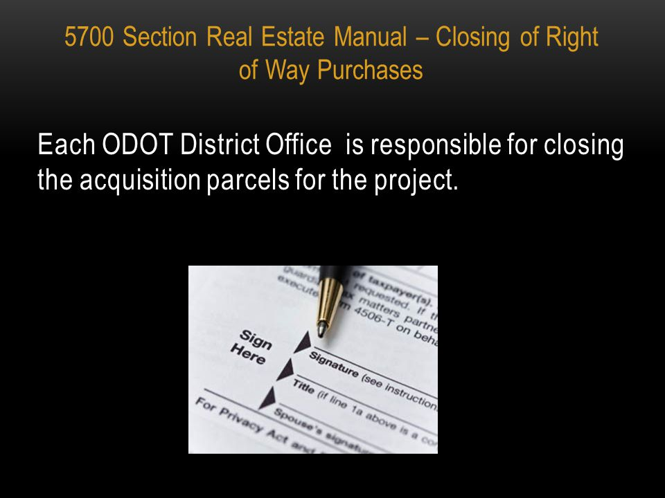 5700 SECTION OF THE REAL ESTATE MANUAL