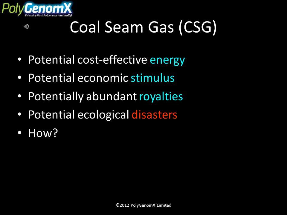 Coal Seam Gas (CSG) CSG promises prosperity & threatens environment CSG water contains millions of tonnes of salt Desalination consumes power & create