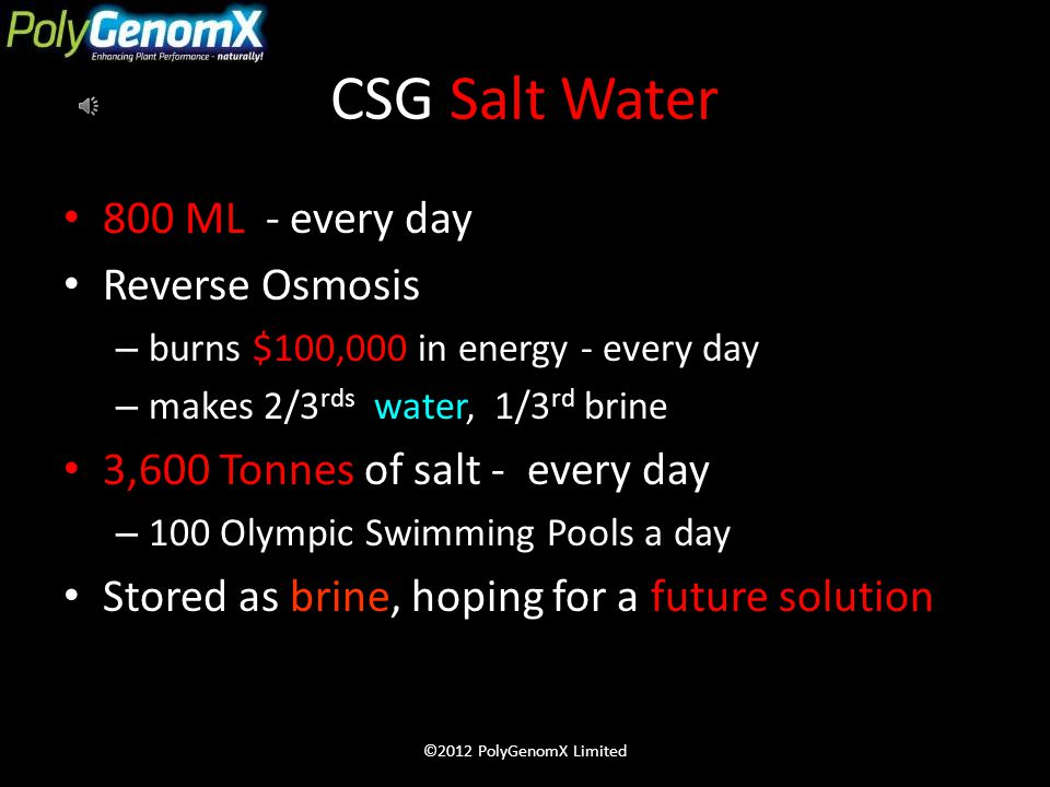 CSG Salt Water 800 ML - every day Reverse Osmosis – burns $100,000 in energy - every day – makes 2/3 rds water, 1/3 rd brine 3,600 Tonnes of salt - every day – 100 Olympic Swimming Pools a day Stored as brine, hoping for a future solution ©2012 PolyGenomX Limited