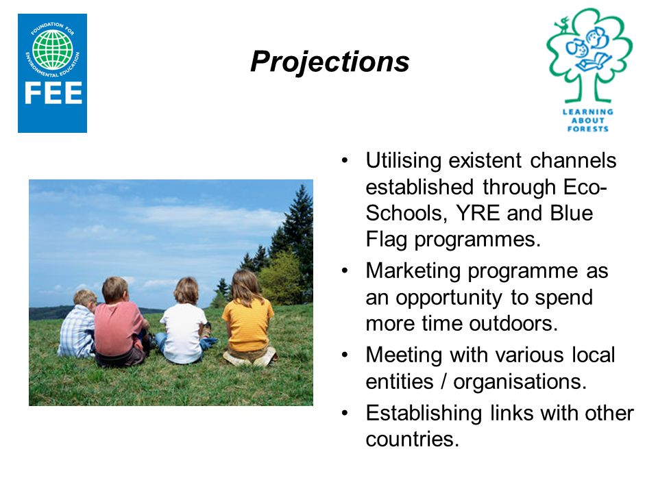 Projections Utilising existent channels established through Eco- Schools, YRE and Blue Flag programmes.