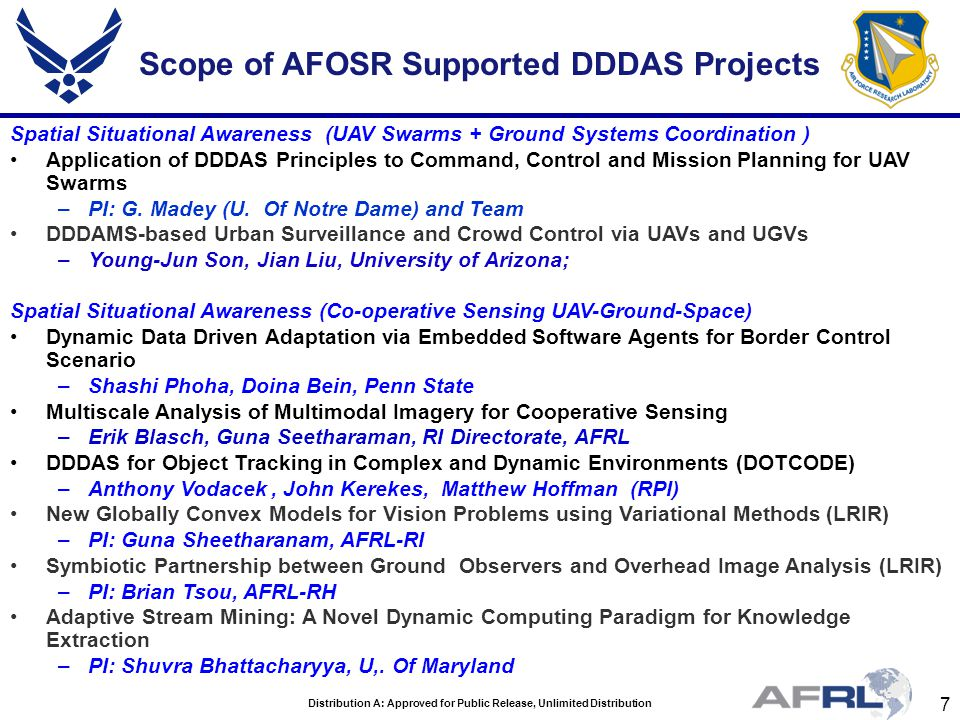 8 Distribution A: Approved for Public Release, Unlimited Distribution Scope of AFOSR Supported DDDAS Projects Energy Efficiencies Energy-Aware Aerial Systems for Persistent Sampling and Surveillance –E.
