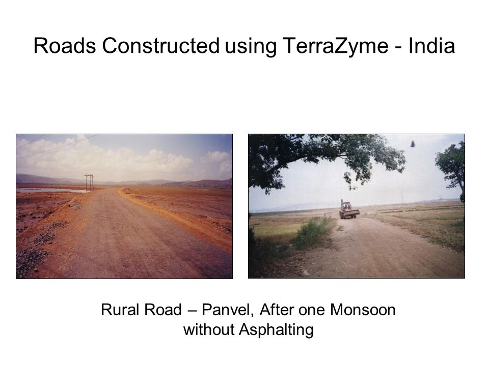 Roads Constructed using TerraZyme - India Rural Road – Panvel, After one Monsoon without Asphalting
