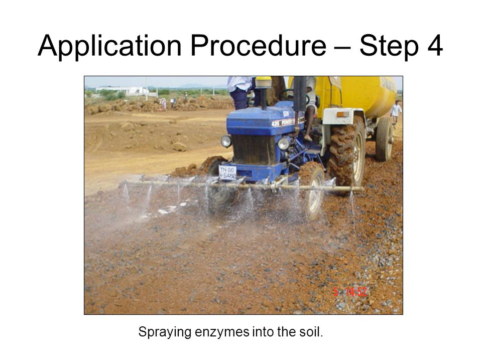 Spraying enzymes into the soil. Application Procedure – Step 4