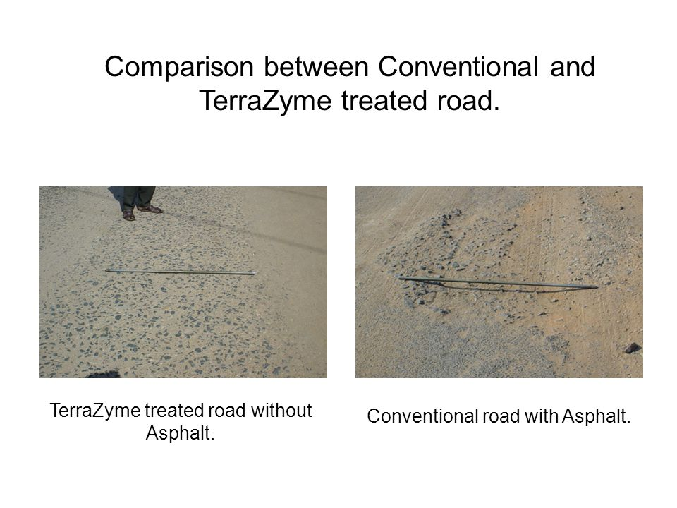 Comparison between Conventional and TerraZyme treated road. TerraZyme treated road without Asphalt. Conventional road with Asphalt.