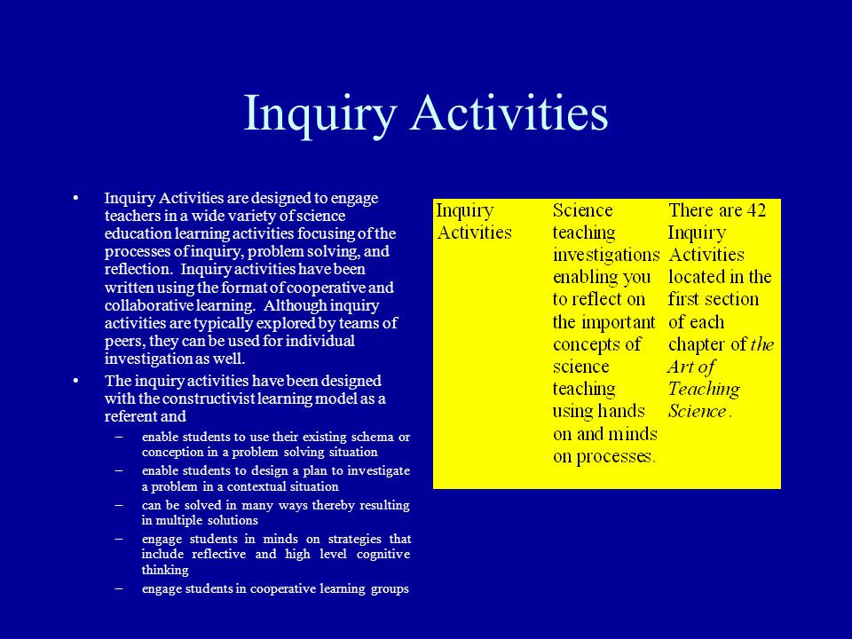 Inquiry Activities Inquiry Activities are designed to engage teachers in a wide variety of science education learning activities focusing of the proce
