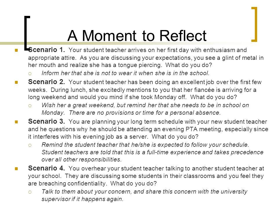 A Moment to Reflect Scenario 1.
