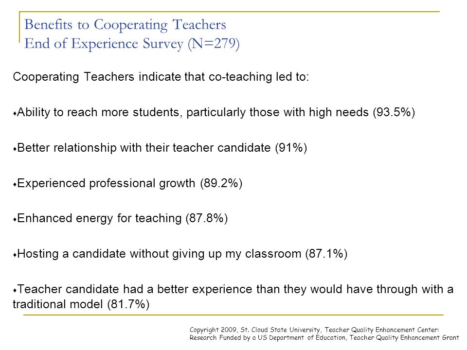 Benefits to Cooperating Teachers End of Experience Survey (N=279) Cooperating Teachers indicate that co-teaching led to:  Ability to reach more stude
