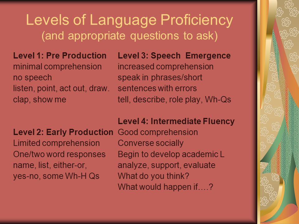 Levels of Language Proficiency (and appropriate questions to ask) Level 1: Pre Production minimal comprehension no speech listen, point, act out, draw