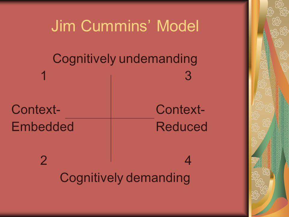 Jim Cummins' Model Cognitively undemanding 13Context- EmbeddedReduced 24 Cognitively demanding
