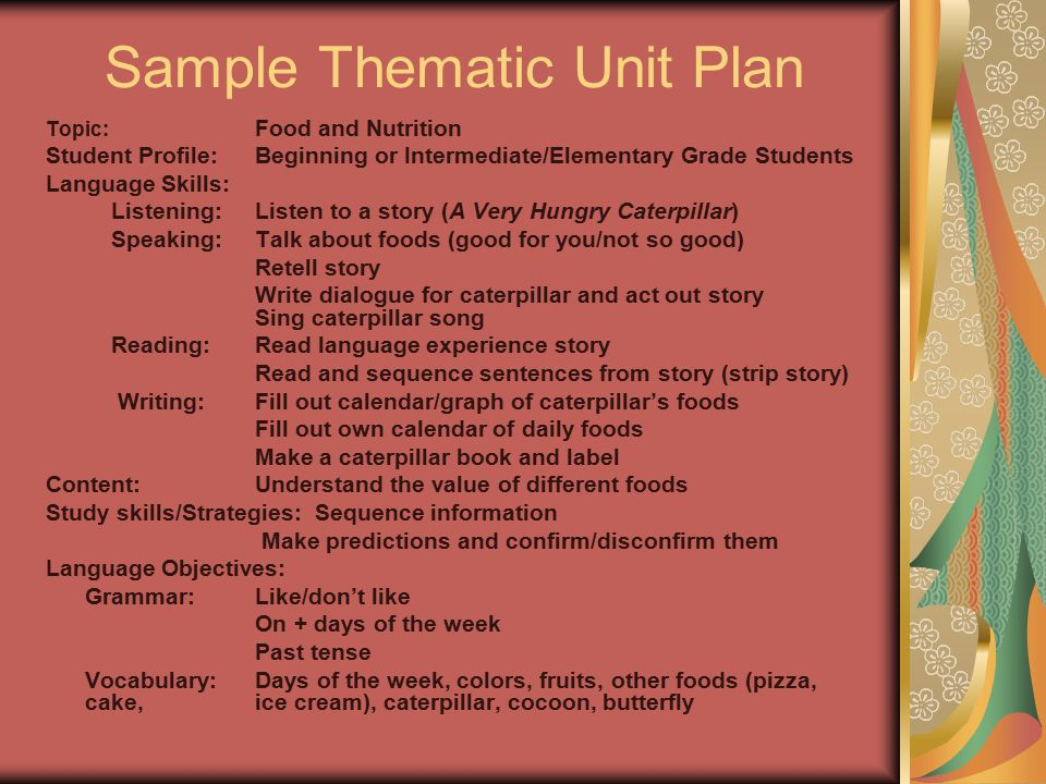 Sample Thematic Unit Plan Topic: Food and Nutrition Student Profile:Beginning or Intermediate/Elementary Grade Students Language Skills: Listening:Lis