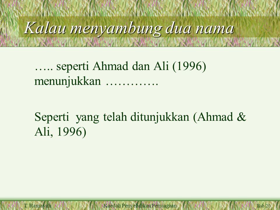 Bab 20 T. RamayahKaedah Penyelidikan Perniagaan Kalau menyambung dua nama …..