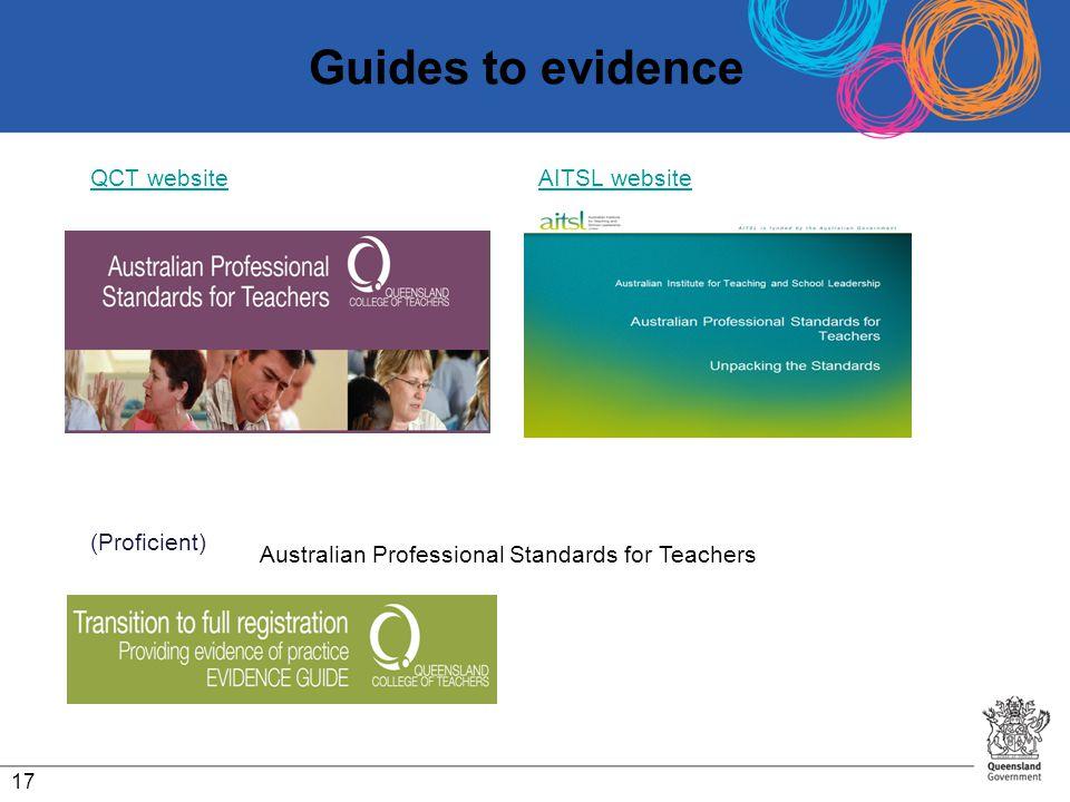 Guides to evidence QCT websiteQCT website AITSL websiteAITSL website (Proficient) 17 Australian Professional Standards for Teachers