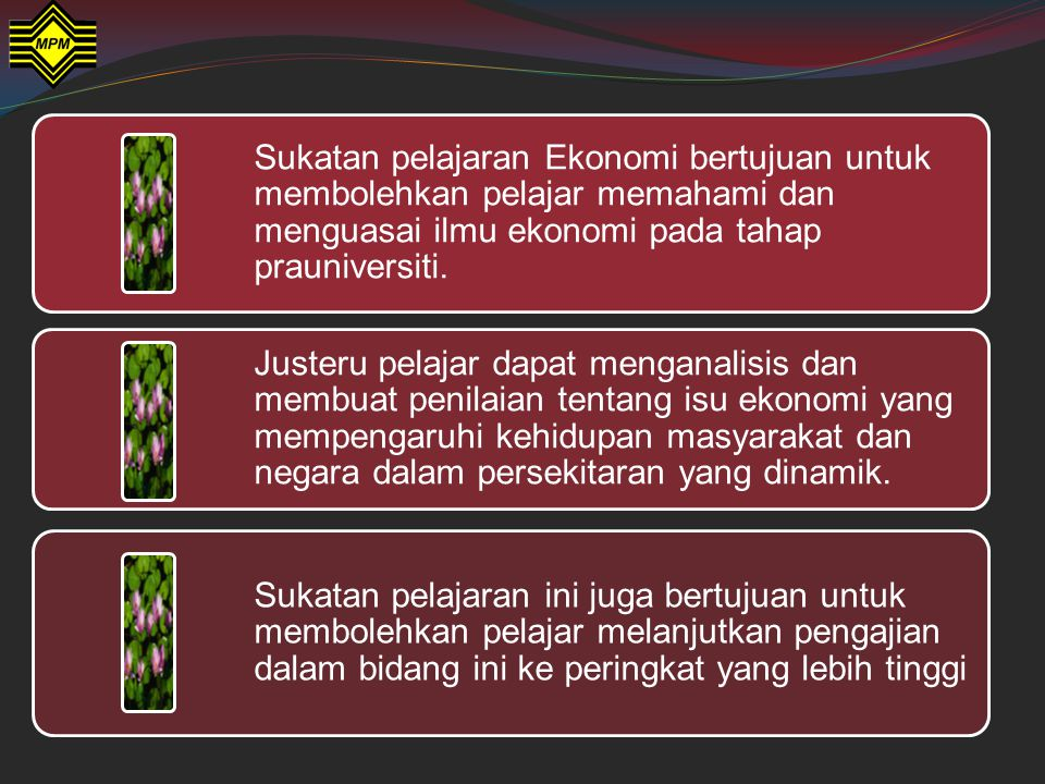 Bil.Subtajuk 1.1Definisi ilmu ekonomi 1.2Sumber ekonomi 1.3Kehendak manusia 1.4Masalah asas ekonomi 1.5Keluk kemungkinan pengeluaran 1.6Sistem Ekonomi