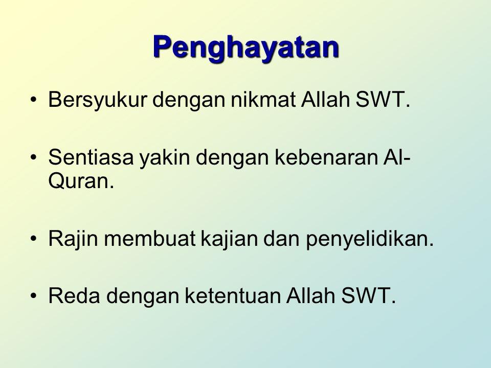 Penghayatan Bersyukur dengan nikmat Allah SWT. Sentiasa yakin dengan kebenaran Al- Quran. Rajin membuat kajian dan penyelidikan. Reda dengan ketentuan