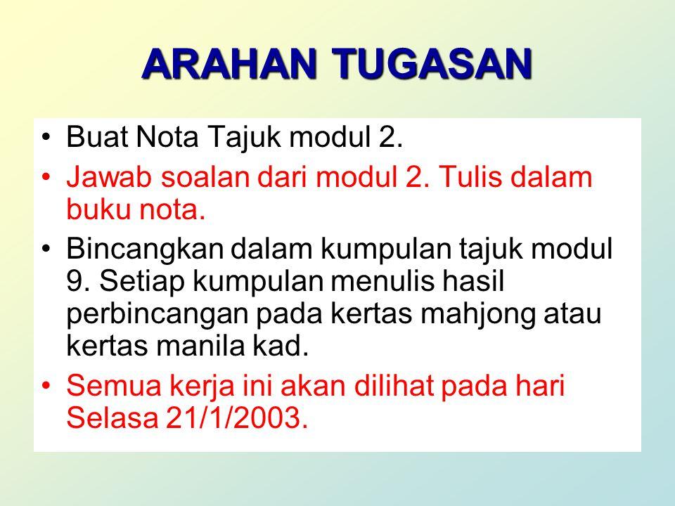 ARAHAN TUGASAN Buat Nota Tajuk modul 2. Jawab soalan dari modul 2.