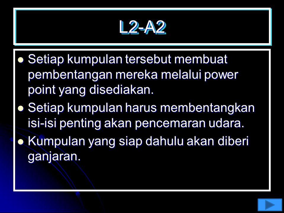 L2-A1L2-A1 Murid dibahagikan kepada beberapa kumpulan dan setiap kumpulan dikehendaki untuk memilih salah satu aspek pencemaran yang terdiri daripada;