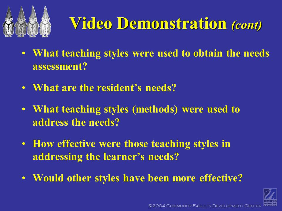 ©2004 Community Faculty Development Center What teaching styles were used to obtain the needs assessment.