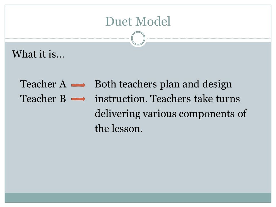 Duet Model What it is… Teacher A Both teachers plan and design Teacher Binstruction. Teachers take turns delivering various components of the lesson.