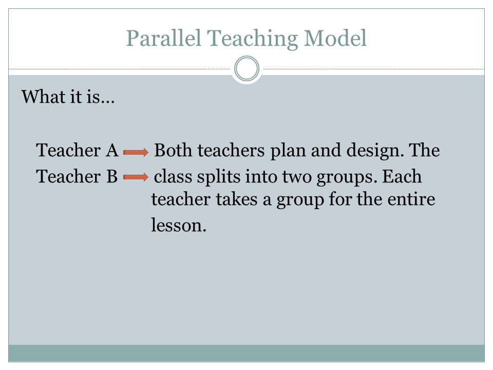 Parallel Teaching Model What it is… Teacher A Both teachers plan and design. The Teacher B class splits into two groups. Each teacher takes a group fo