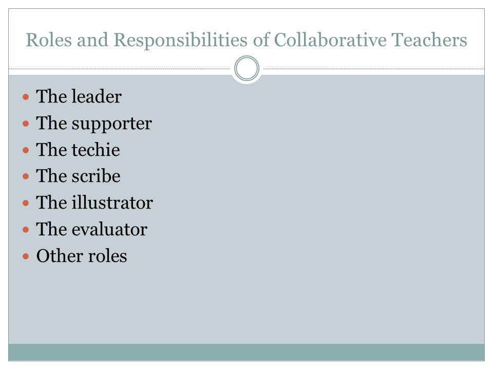 Roles and Responsibilities of Collaborative Teachers The leader The supporter The techie The scribe The illustrator The evaluator Other roles
