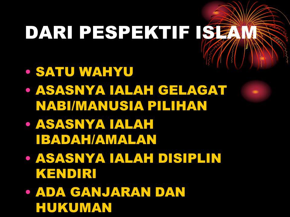DARI PESPEKTIF ISLAM SATU WAHYU ASASNYA IALAH GELAGAT NABI/MANUSIA PILIHAN ASASNYA IALAH IBADAH/AMALAN ASASNYA IALAH DISIPLIN KENDIRI ADA GANJARAN DAN