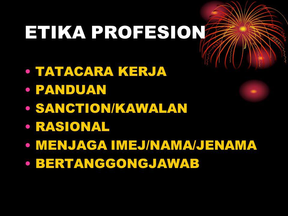 ETIKA PROFESION TATACARA KERJA PANDUAN SANCTION/KAWALAN RASIONAL MENJAGA IMEJ/NAMA/JENAMA BERTANGGONGJAWAB