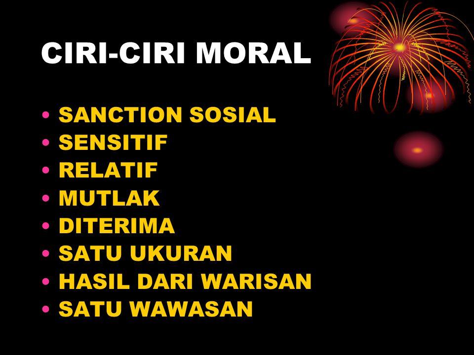 CIRI-CIRI MORAL SANCTION SOSIAL SENSITIF RELATIF MUTLAK DITERIMA SATU UKURAN HASIL DARI WARISAN SATU WAWASAN