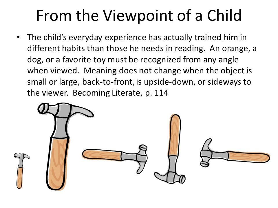 From the Viewpoint of a Child The child's everyday experience has actually trained him in different habits than those he needs in reading. An orange,